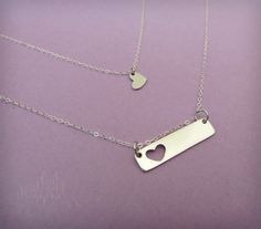 Mother Daughter Necklace Set, Heart Necklace Set, Mini and Me Jewelry, Mom Jewelry, Mom Necklace, Gift for Mom