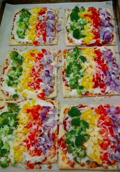 THIS is a school pizza in the QV Cafe, Quaker Valley Schools, PA. THANKS to Jennifer Reiser for the photo and the link for the online recipe she adapted. Recipe from Gimme Some Oven (http://www.gimmesomeoven.com/rainbow-flatbread-pizza-veggie-pizza-recipe/)