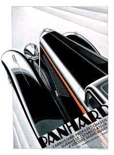 Affiche - Publicité Panhard de 1932 - illustration de Alex Kow - Simi25.