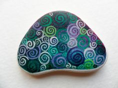 Crowded curly swirls  Miniature art on sea pottery by Alienstoatdesigns, $12.00