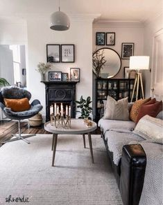 Monochrome living room with industrial metal cabinet and cast iron fireplace. Click through to see product details. Posts by shnordic French Country Living Room, Decor, Interior Design, Monochrome Living Room, Home, Interior, Country Living Room, Living Room Diy, Room