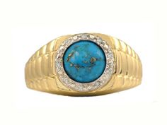 Men's Diamond and Turquoise Ring in Yellow Gold (Online at Gemologica.com)