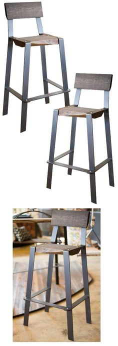The Urban Forge Bar Stool is a great minimalist, crossover design.  Reclaimed wood slab seat and backrest adds a rustic charm. Find the Urban Forge Bar Stool as seen in the iron bar stool collection at www.timelesswroug…
