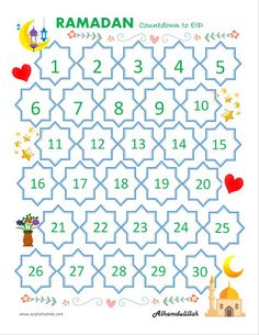 Ramadan Countdown to Eid Ramadan Activities, Ramadan Crafts, Kindergarten Activities, Activities For Kids, Kids Calendar, Countdown Calendar, Countdown For Kids, Eid Photos, Eid Greeting Cards