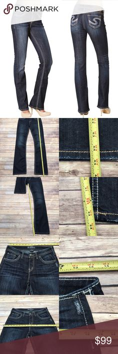 🌿28 Silver Jeans Natsuki Long Dark Wash Bootcut Measurements are in photos. NEVER WORN, no flaws. C1  I do not comment to my buyers after purchases, do to their privacy. If you would like any reassurance after your purchase that I did receive your order, please feel free to comment on the listing and I will promptly respond. I ship everyday and I always package safely. Thanks! Silver Jeans Jeans Boot Cut