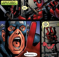mikki-tsukiyomi:    Ok, I know this was supposed to be pretty comedic, but can we just take a moment to appreciate that for a brief moment Captain America was actually concerned for Deadpool? I don't know. It's just the little things that get me I guess. -3-    Captain America is one of the few people that actually cares about Deadpool and his well-being. They have a really interesting father–son relationship that a few people acknowledge.  I wrote more on it here:Deadpool & Captain America