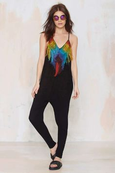 Mara Hoffman Do or Tie-Dye Fringe Jumpsuit - Rompers + Jumpsuits Colorful Fashion, Retro Fashion, Gypsy Fashion, Diy Fashion, Look Festival, Festival Shop, Jumpsuit Dressy, Black Jumpsuit, Fringe Fashion