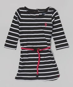 Loving this Black Stripe Belted Dress - Infant, Toddler & Girls on #zulily! #zulilyfinds