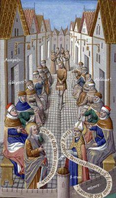Augustin - De Civitate Dei contra Paganos (c. 1475).  Areopagus sermon.  Illumination by Maître François.