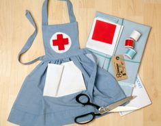 Cute Nurses Apron Sewing Kit to make for your by LittleDressKits, £19.99