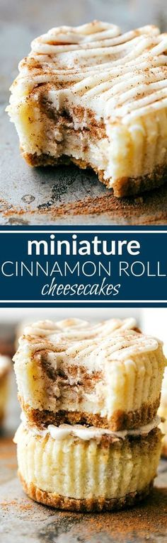 The BEST DESSERT! Miniature cinnamon roll cheesecakes with a delicious cinnamon swirl and cream cheese frosting topping! Via http://chelseasmessyapron.com