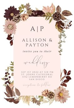 Autumn Celebration - Wedding Invitation #invitations #printable #diy #template #wedding