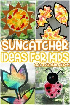 Learn how to make these easy suncatchers will your kids this summer! The Inspiration Edit lists the coolest suncatcher crafts that your kids will love to make. Plus, they make your windows look so cool. Try one of these great summer crafts today! Summer Arts And Crafts, Craft Projects For Kids, Fun Crafts For Kids, Arts And Crafts Projects, Craft Ideas, Creative Crafts, Easy Crafts, Creative Ideas, Diy Ideas