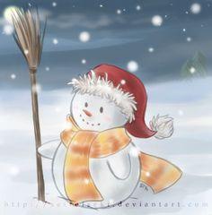 Snowman by seireiseki on DeviantArt Merry Little Christmas, Christmas Art, Watercolor Christmas Cards, Christmas Wallpaper, Snowflakes, Snowman, Card Ideas, Deviantart, Disney Princess