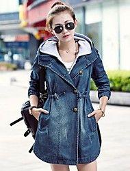 slim tallas grandes ocasionales de las mujeres del dril de algodón abrigo