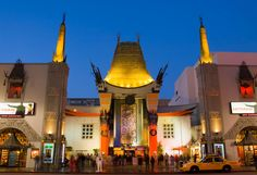 Graumann's Chinese Theater. Los Angeles, CA, USA. It opened in 1927. It has the appearance of a giant pagoda. It is the home of the handprints of the stars of Hollywood. Movie premieres and Academy Awards ceremonies have been celebrated inside.