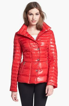 Vince Camuto Asymmetrical Snap Front Down Jacket available at #Nordstrom in True Red
