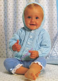 Baby / Toddler  Hooded Aran Fishermasn knit  Jacket / Sweater in DK Light Worsted for sizes 16 to 20 ins - PDF of Vintage Knitting Patterns