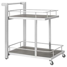 Modway Furniture Modern Shore Outdoor Patio Beverage Cart in Silver Gray EEI-2269-SLV-GRY Enjoy your patio or backyard leisure time with the strong and durable Shore Outdoor Aluminum Beverage Cart. Ma