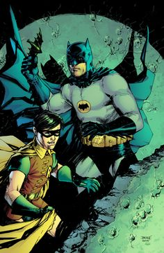 "batmannotes: "" 1966 Batman & Robin Pencils by Jim Lee Colors by Jeremiah Skipper "" Batman 1966, Batman Robin, Adam West Batman, Batman 2, Batman Stuff, Superman, Batman Universe, Comics Universe, Nightwing"