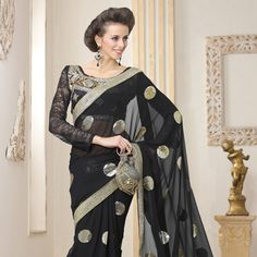 #Black #Saree with Blouse