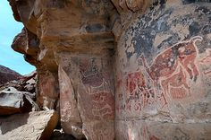 Ancient rock paintings of Taira, Chile. Located in the Rio Loa valley of the Atacama Desert.