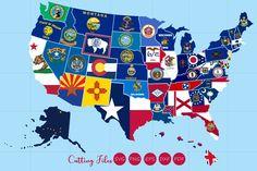 All 50 US states map with flag design United States Outline, Us State Map, Flag Background, U.s. States, Illustrations, Flag Design, Paint Markers, Pencil Illustration, Design Crafts