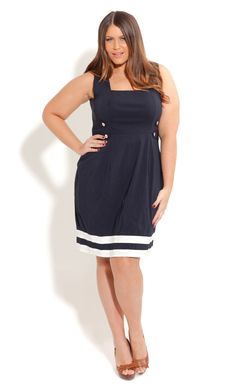 City Chic IN THE NAVY DRESS  - Plus Size Fashion