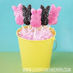 I hate Peeps, but these are cute. Chocolate PEEPS Pops by Love From The Oven