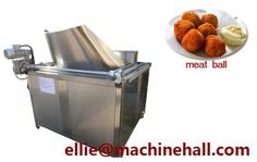 Meatball Frying Machine For Sale http://www.fried-machinery.com/products/meat-fryer/meatball-fryer.html