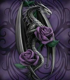 Dragon with roses tattoo