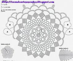 chart for red and white rose doily--Tecendo Artes em Crochet: Mais um Centro Primavera - Encomenda entregue!
