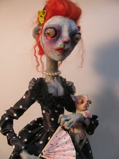the Queen lowbrow figure art doll polymer clay ooak sculpture one of a kind by mealy monster land