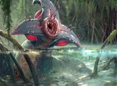 Latest MTG Art - Magic: the Gathering Art Gallery from all Sets Mythical Creatures Art, Alien Creatures, Fantasy Creatures, Alien Concept Art, Creature Concept Art, Fantasy Monster, Monster Art, Creature Feature, Creature Design