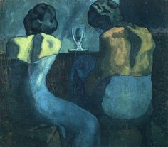 Two women sitting at a bar by Pablo Picasso,  Categories: Abstract painting, Figure painting, Cubism https://www.chinaoilpaintinggallery.com/famous-artists-picasso-c-141_154/two-women-sitting-at-a-bar-p-32884