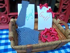 Baby Gender Reveal Party- Guests wear to show their guess. Ties (made from stiffened fabric) and bows were glued to bobby pins.