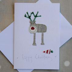 Embroidered Christmas Reindeer | Handmade Fabric Christmas Card | Textile Art | www.gwag.uk.com Diy Christmas Cards, Christmas Sewing, Christmas Card Holders, Handmade Christmas, Fabric Postcards, Fabric Cards, Paper Cards, Diy Cards, Card Making Inspiration