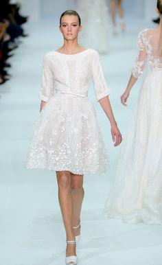 Beaded white knee length dress / Elie Saab 2012 Couture