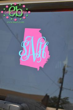 MONOGRAM Car Decal - Vinyl Car Decal - State Pride Outline on Etsy, $4.00