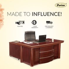 Paradigm of design and class. Durian's modern, executive desks make sure that your productivity never drops!