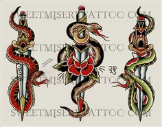Ideas For Tattoo Snake Dagger Roses Wolf Tattoos, Leg Tattoos, Girl Tattoos, Tattoos For Guys, Sleeve Tattoos, Sanduhr Tattoo Old School, Snake And Dagger Tattoo, Traditional Tattoo Old School, Traditional Tattoos