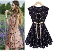 Free Shipping 2013 new Women Slim fashion  Sexy Elk pattern waist dress Color: pink , navy blue Sizes: S , M , L , XL $19.99