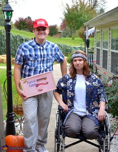 How easy would this be for a couple #Halloween #costume!  Check your local goodwill for a wheelchair, borrow one or rent one for the night.  Forrest Gump & Lt. Dan Costume
