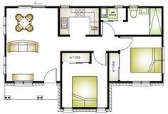 0 Floor Plan Patio Chico, Two Bedroom Floor Plan, Bungalow, Granny Flat, Flat Ideas, Shipping Container Homes, Small House Design, Affordable Housing, House 2