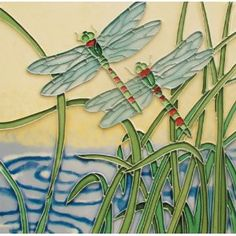 "8""x8"" Art Tile- Dragonflies"