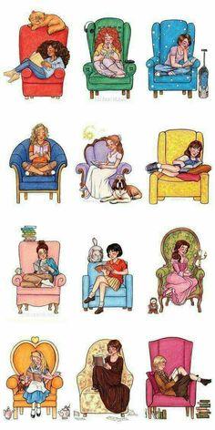 En el orden de arriba (izquierda a derecha)  1-Hermione de Harry Potter 2-Eleanor- Eleanor& Park  3-Hazel- Bajo la misma estrella 4-Annabeth- Libros de Percy Jackson  5-Wendy - Peter Pan 6-Matilda de la película  7-Cath -Fangirl 8-Shizuku- Susurros del corazón de Japón  9-Belle- La bella y la bestia 10-Alicia - Alicia en el país de las maravillas 11-Elizabeth -Orgullo y prejuicio 12-Liesel- La ladrona de libros