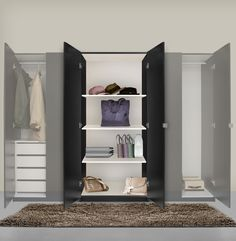 Alta Narrow Wardrobe Closet   Right Door, 3 Interior Drawers | Wardrobe  Closet | Pinterest | Narrow Wardrobe, Drawers And Door Opener