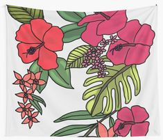 """""""Tropical Flowers Illustration"""" Wall Tapestry by Hawaiian Flowers, Tropical Flowers, Tapestry Design, Wall Tapestry, Textile Prints, Sell Your Art, All Print, Vivid Colors, Cactus"""