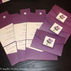 Scottish Thistle Photo Purple Wedding Pocketfold - Vintage Wedding Stationery Scotland - VOWS Award Nominee 2013