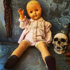 A personal favorite from my Etsy shop https://www.etsy.com/listing/522834281/creepy-doll-composition-doll-collectable